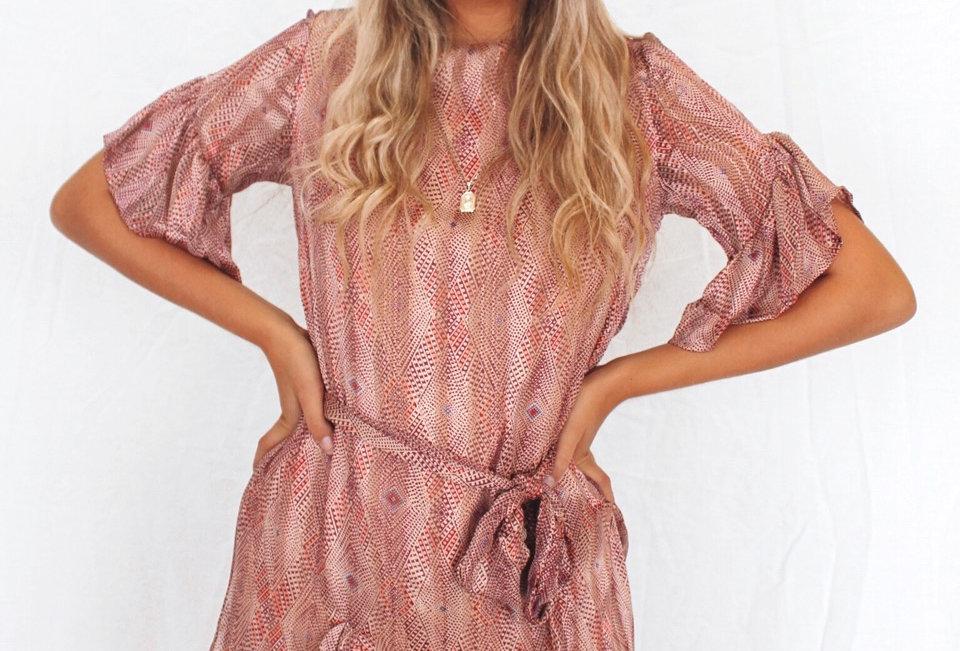 cute patterned shift dress 25609B22 Indikah