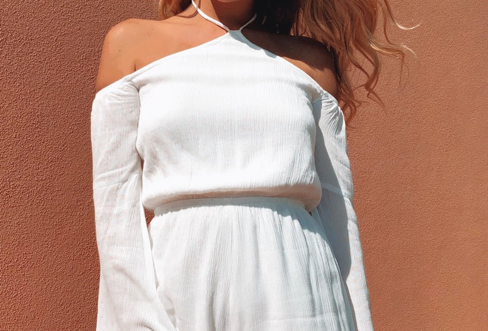 Stunning white playsuit, perfect for a mid season outfit leading into the Summer!