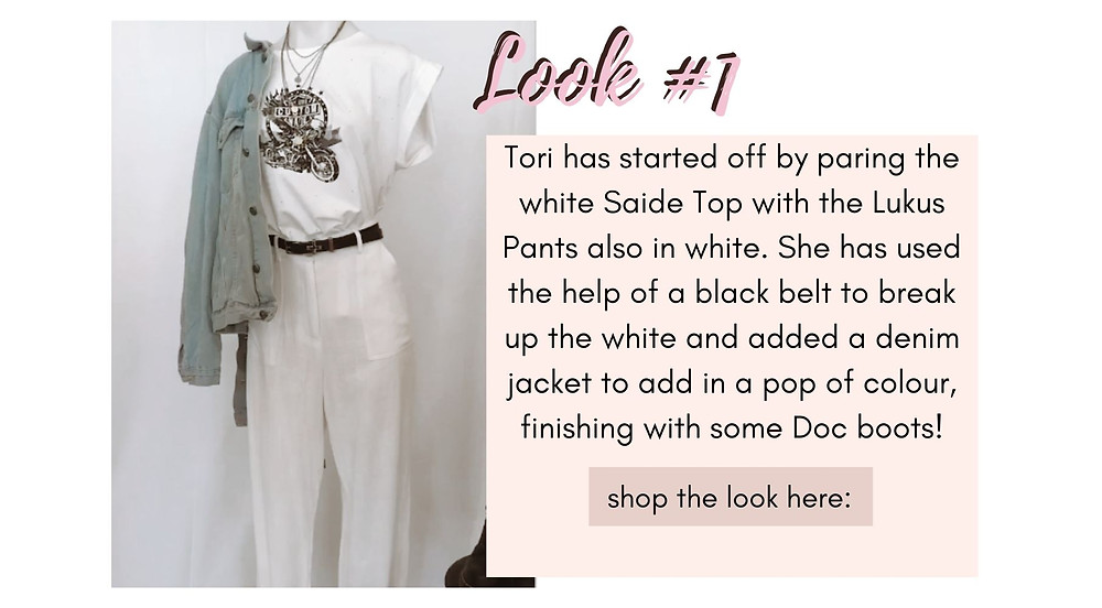 White Saide Top paired with the Lukus Pants in white. Used a black belt to break up the white and added  a denim jacket for a pop of colour.