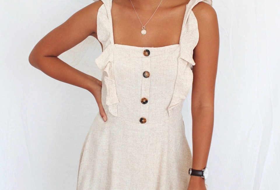 Cute linen dress brown buttons down the front AVA QM32611206