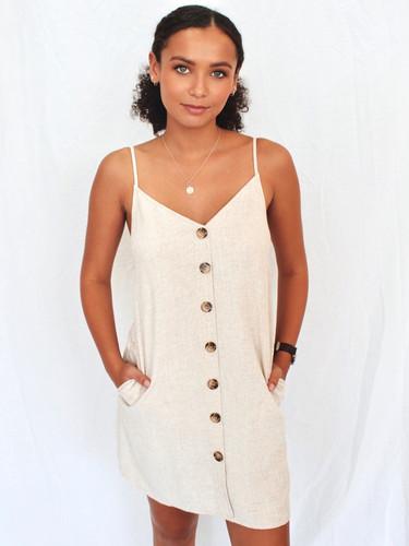 036a4056bc0d sand colour linen dress buttons down the front ...