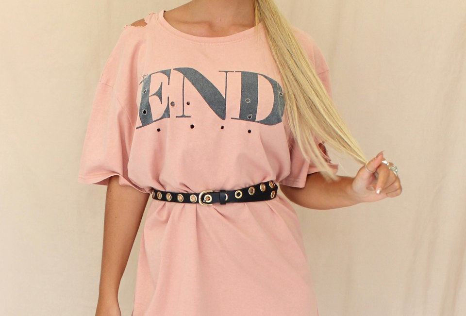 Cute T-Shirt Dress, Featuring Rips and The Word End On It. This is Perfect For That Everyday Cute Casual Look!