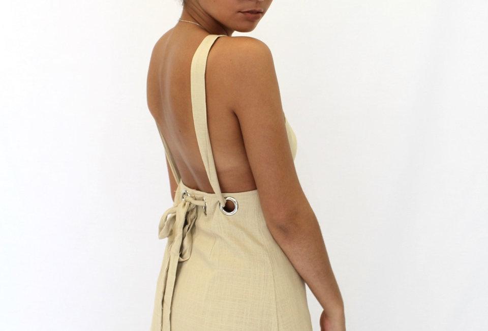 Cute Nude Linen Pinafore Dress, perfect Cute Casj Look!