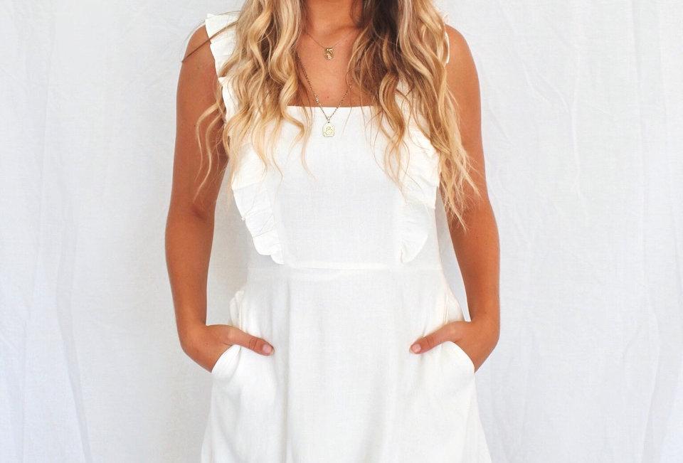 White linen mini dress cute fill detail on straps