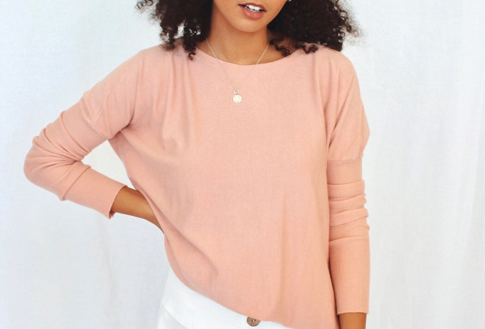 K3106A silver wishes, musk colour throw on jumper, tight sleeve circle neckline