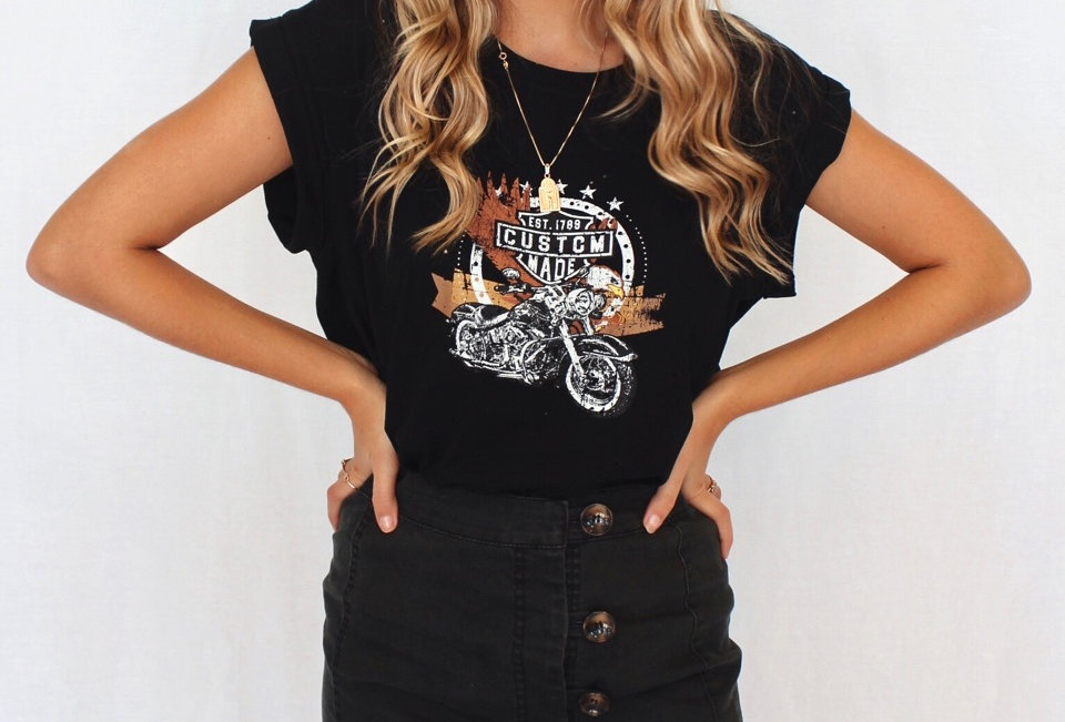 vintage look band tee, motorbike graphic on front