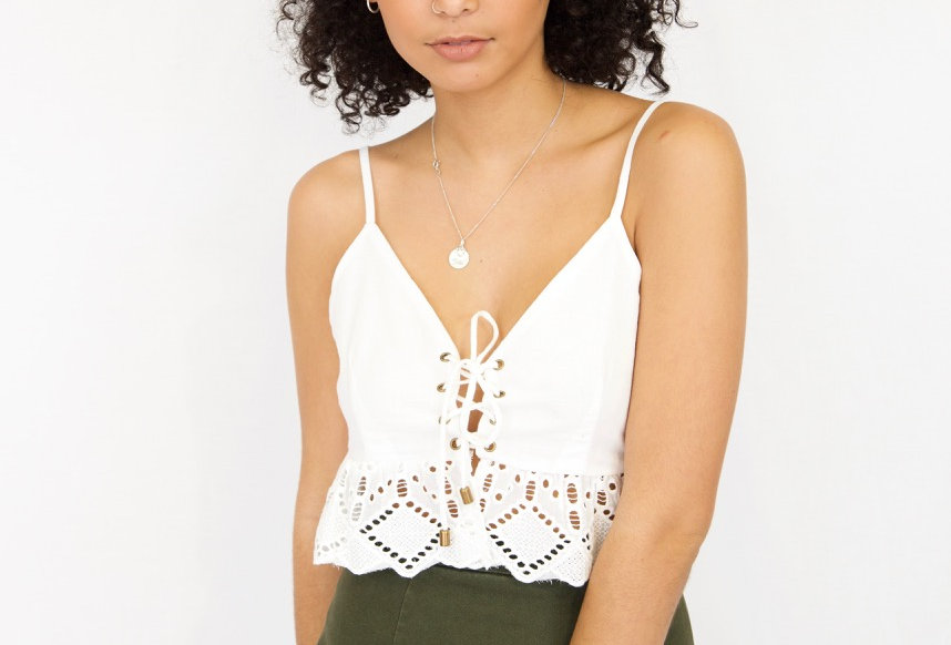 Cute white boho crop top, perfect to match with any high waisted item!