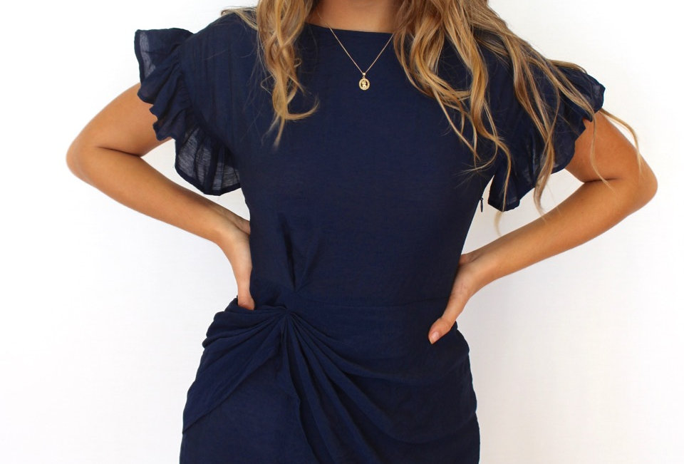 Cute navy silky dress, perfect for a night out!