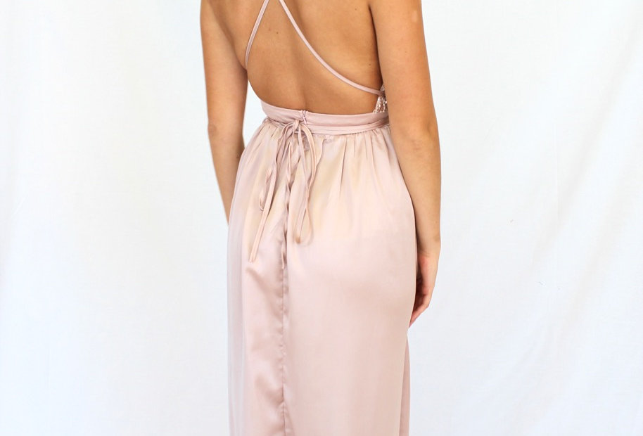 Low Back rose gold maxi dress