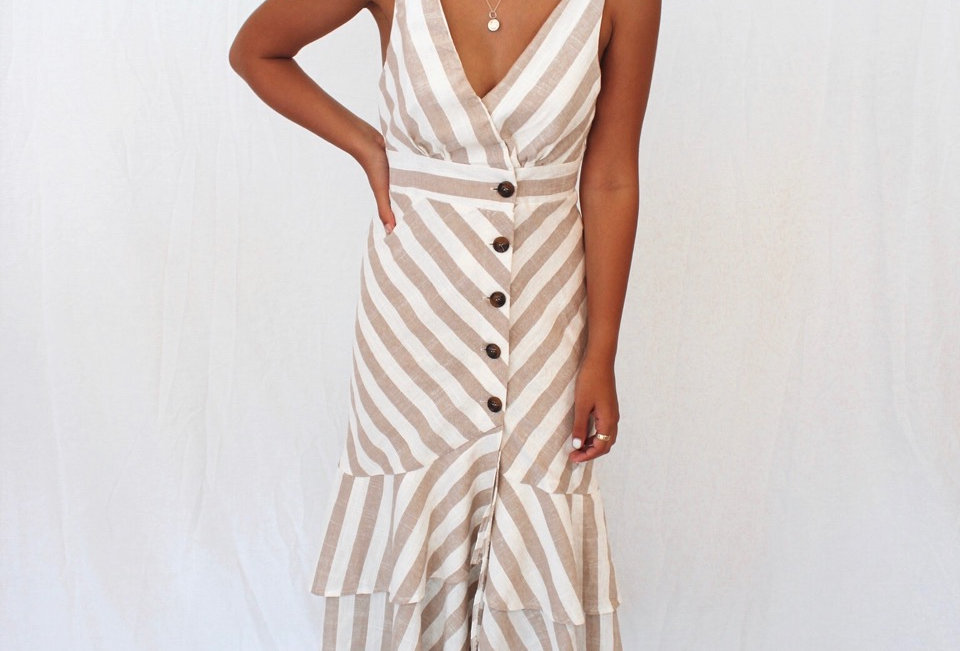 Stunning nude and white stripe dress, perfect to dress up for a event. Giving that casual feel of a linen with a chic style!