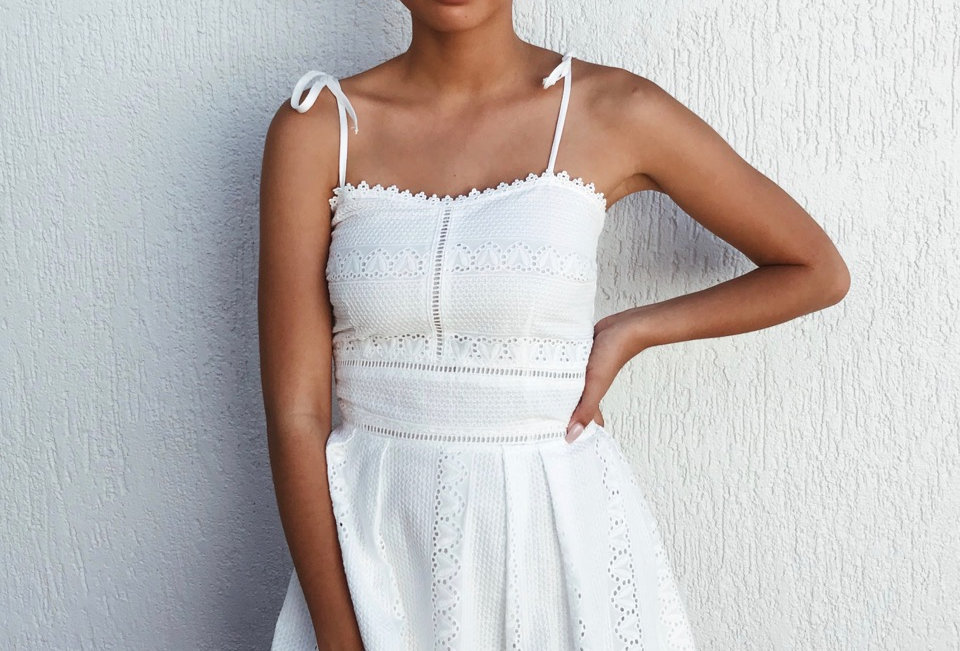 Stunning White Lace Detail Dress, Perfect for a Afternoon Picnic!