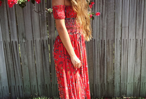 Shine Boutiques Beautiful Waiting Game Off the shoulder Maxi in the Jaase Siesta Print is perfect for summer