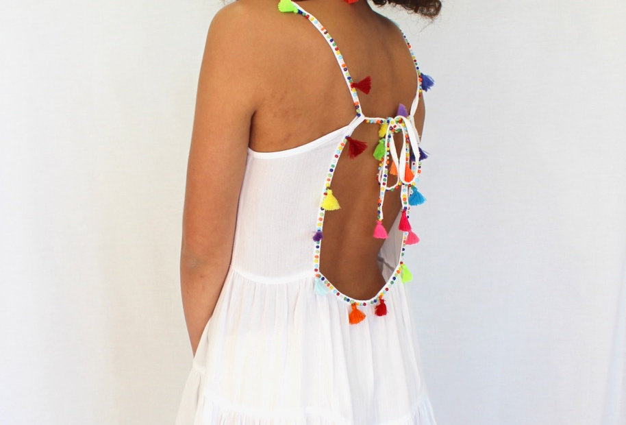 Low Back White festival dress Tassel Detail