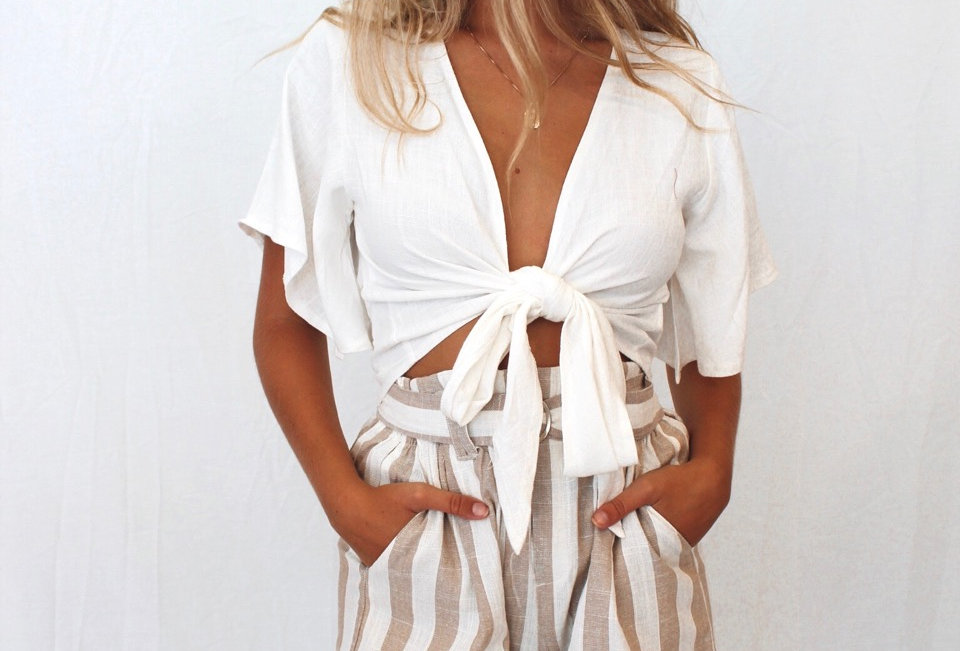 Cute beige and white stripe shorts, perfect Summer style linen shorts!