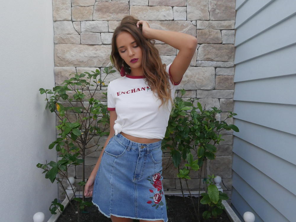MinkPink Disney Enchanted T-Shirt White and Red and Denim Skirt with Red Embroided Roses Skirt from Shine Boutiques Sunshine Coast