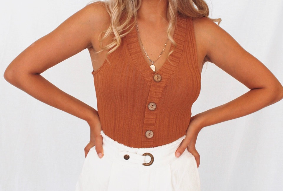 V neck singlet rust coloured top brown buttons down the front