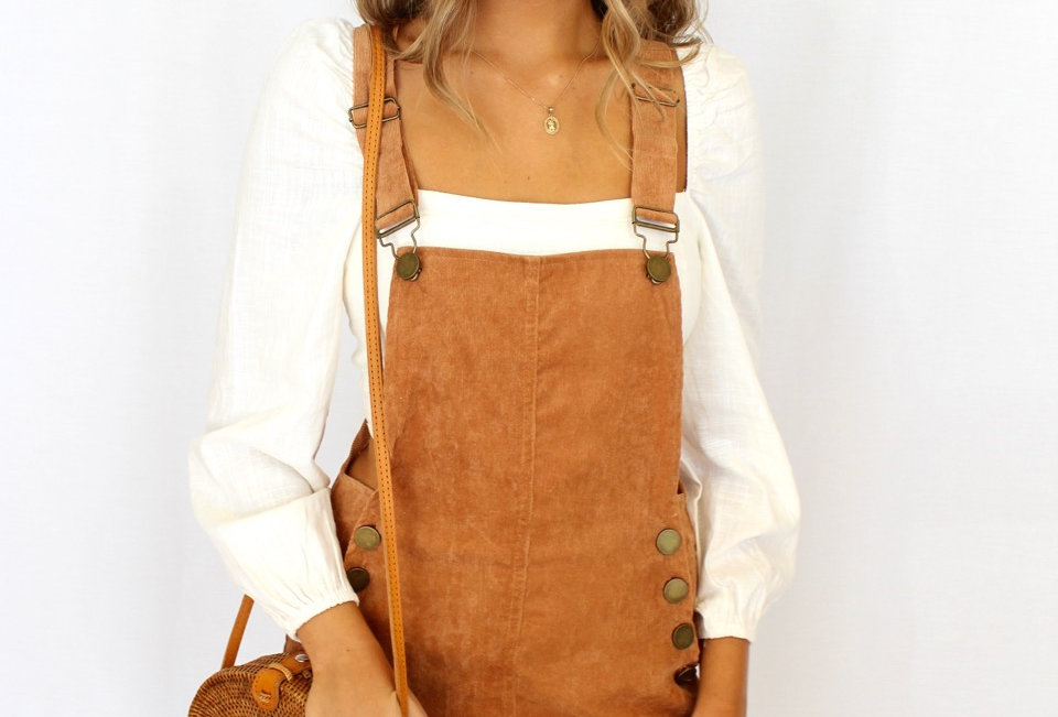 Cute tan corduroy pinafore, perfect for these cooler days with a long sleeved top underneath!