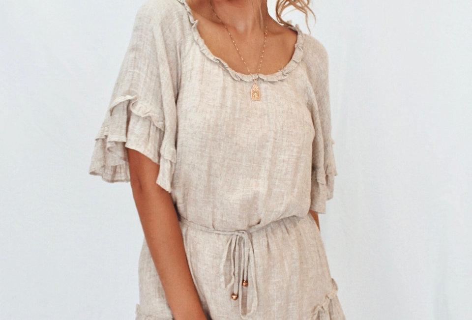 sand linen colour dress waist tie circle neckline frill detail