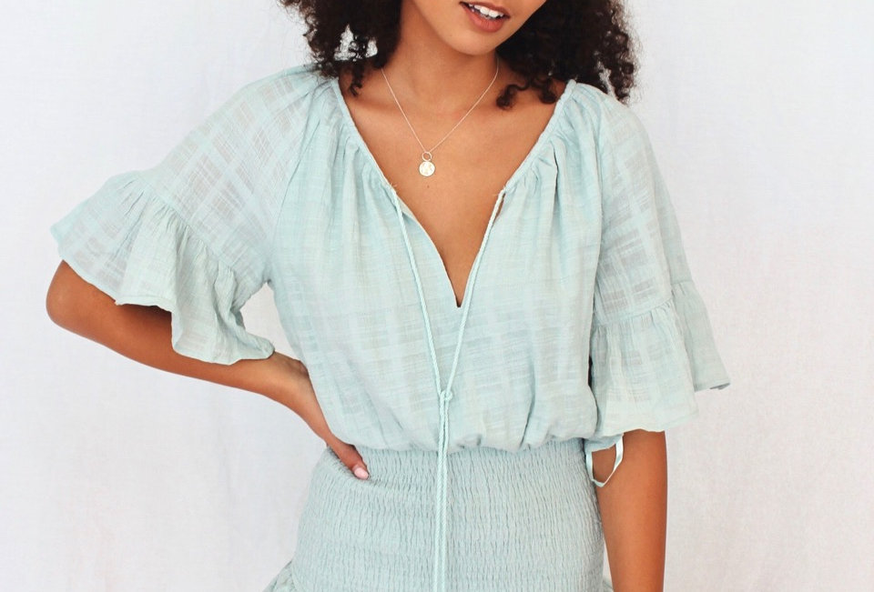 cute sage coloured dress rushed bottom v neck ST225D here comes the sun