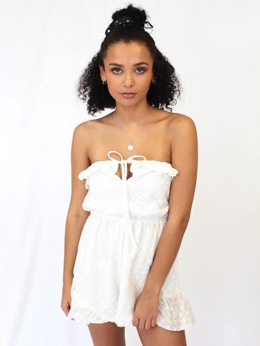 45a1cb9247d Cute white lace detailed playsuit