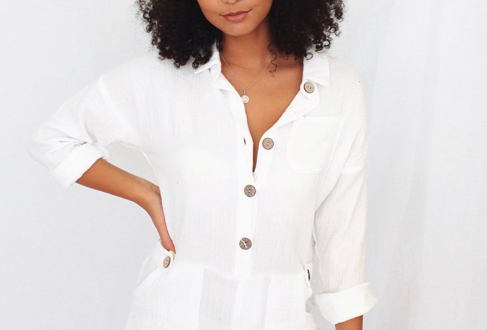 white linen playsuit buttons at front easy fit 180183P sassy hills