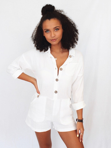 cc2ee19e6ac white linen playsuit buttons at front easy fit 180183P sassy hills ...