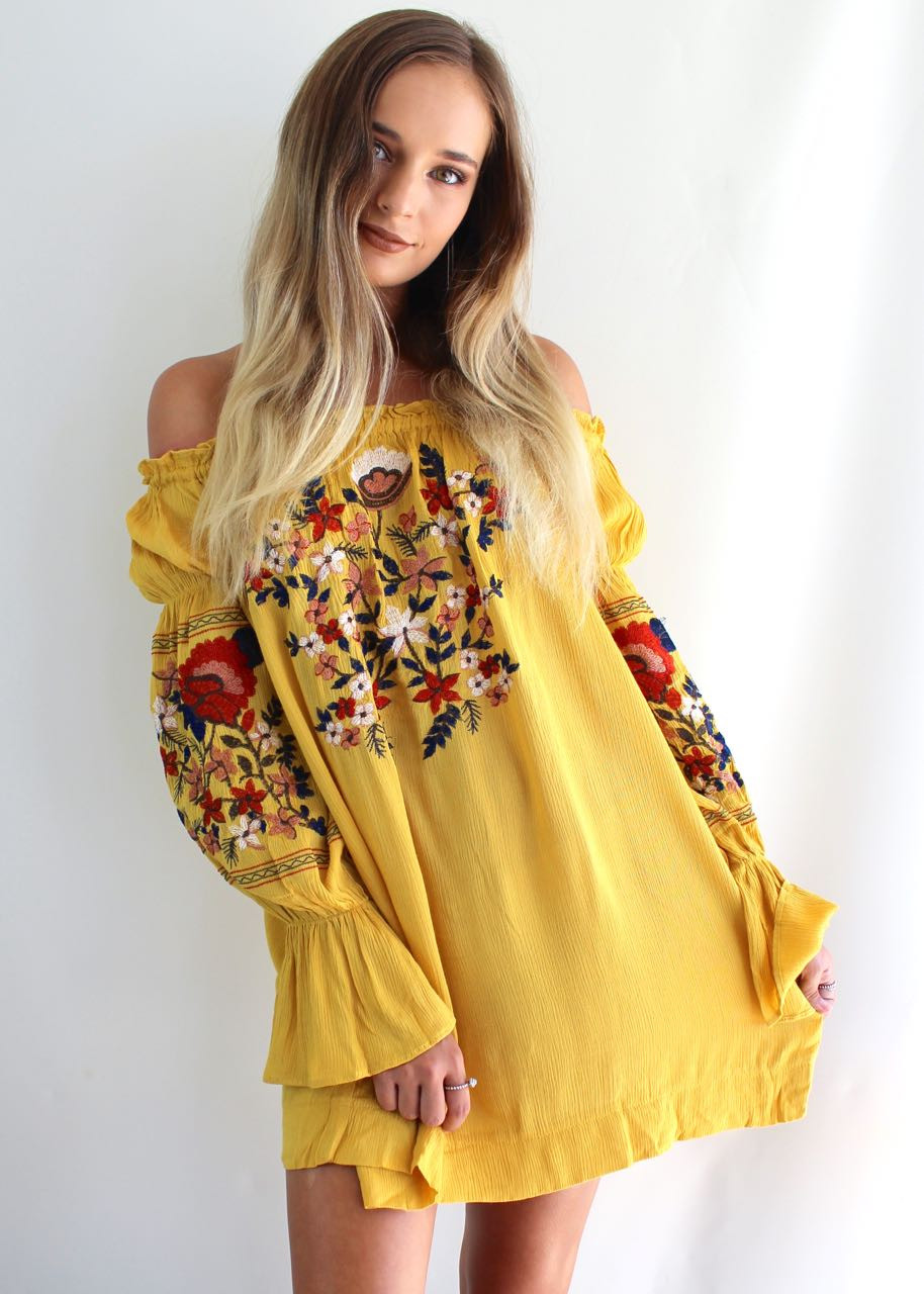 Off-the-shoulder Mustard Dress with embroidered flowers from Shine Boutiques, Sunshine Coast