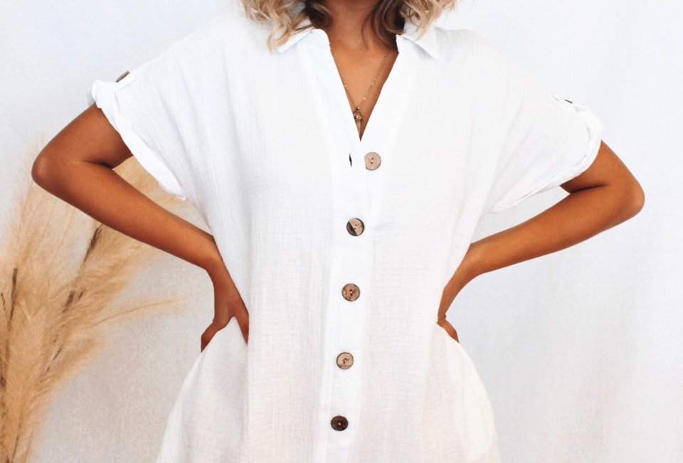 white linen playsuit buttons down the front v neck linen look easy fit cute style