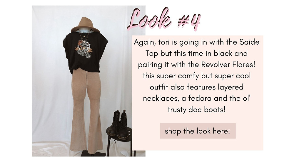 Saide Top in black paired with the Revolver Flares. Super comfy but super cool outfit also features layered necklaces, a fedora and trust doc boots.