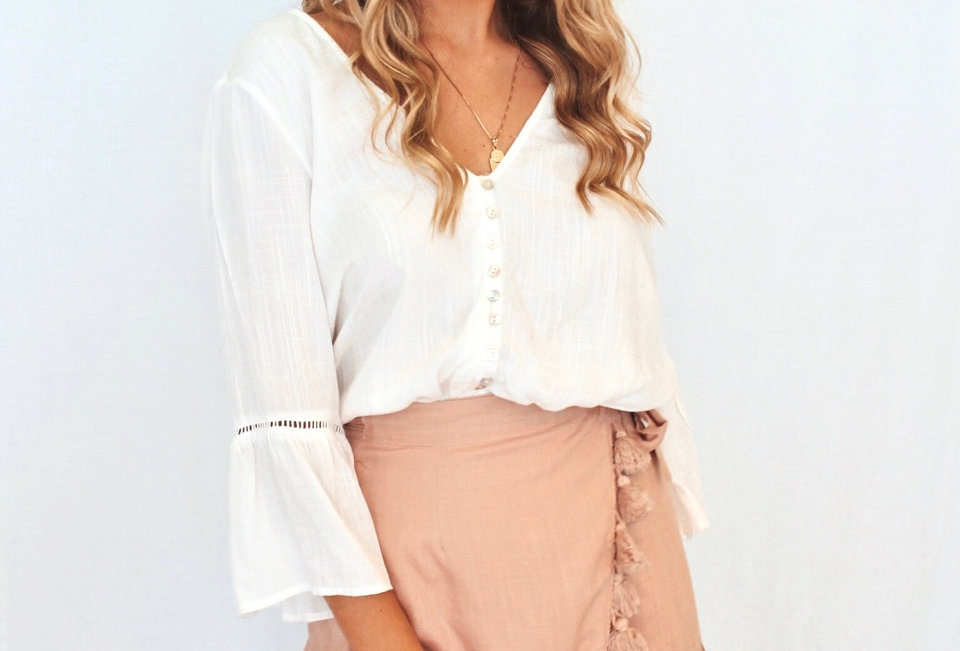 white button up top v neck bell sleeve YM30712916  MIA