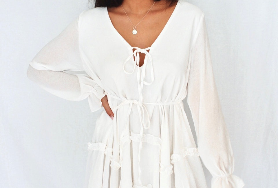white mini dress loose boho style waist tie easy fit sheer sleeve
