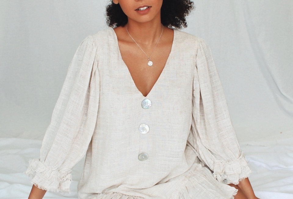 linen sand coloured boho mini dress blouse like sleeve