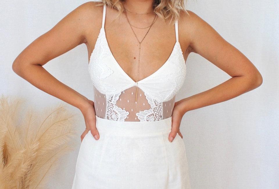 white lace bodysuit adjustable straps clip closure cute style