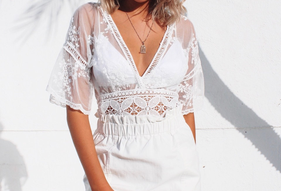 Sheer V neckline Zip at side Stunning lace Cap sleeve White