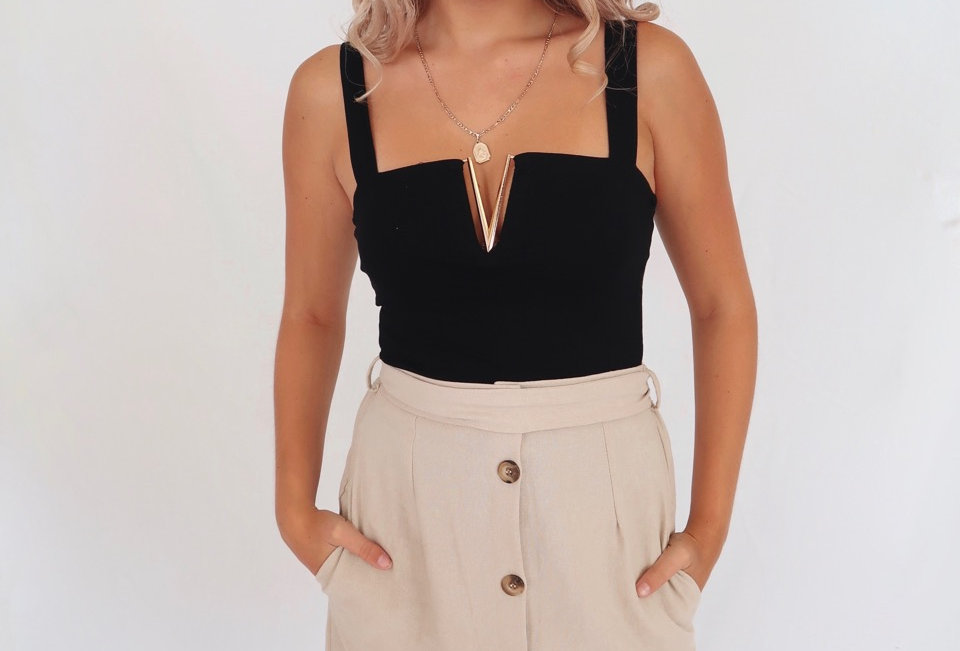 Stunning black top with gold V detail at front, Perfect top to dress up for a event!