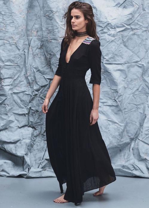 Simple black maxi dress