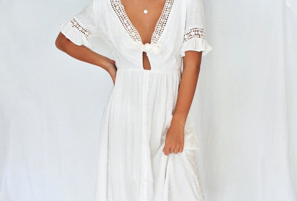 white boho midi dress ties at front v neck buttons down skirt front