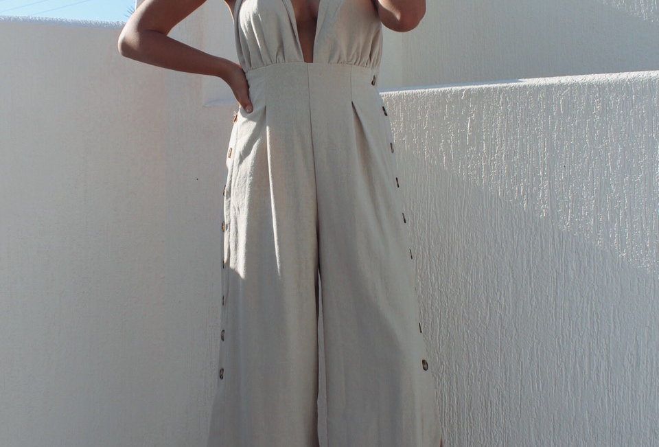 Stunning linen sand jumpsuit, perfect for a Summertime event!
