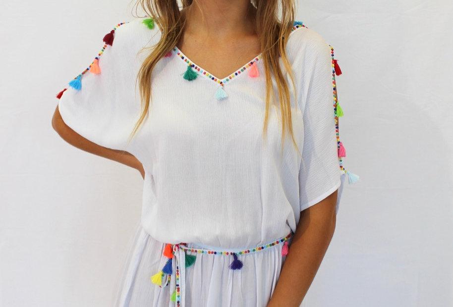 Festival Dress White Tassel Bead Detail