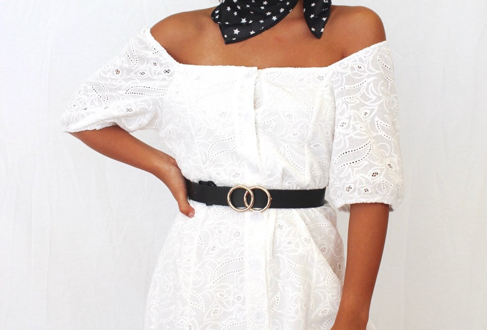 Cute white lace off the shoulder dress, perfect to match with a belt and boots for a festival look or can also dress up for a