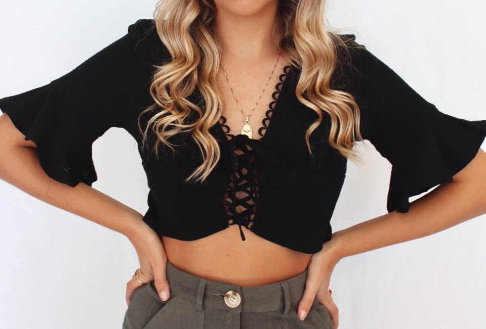 cute black crop top v neck laces up at front 3/4 bell sleeve