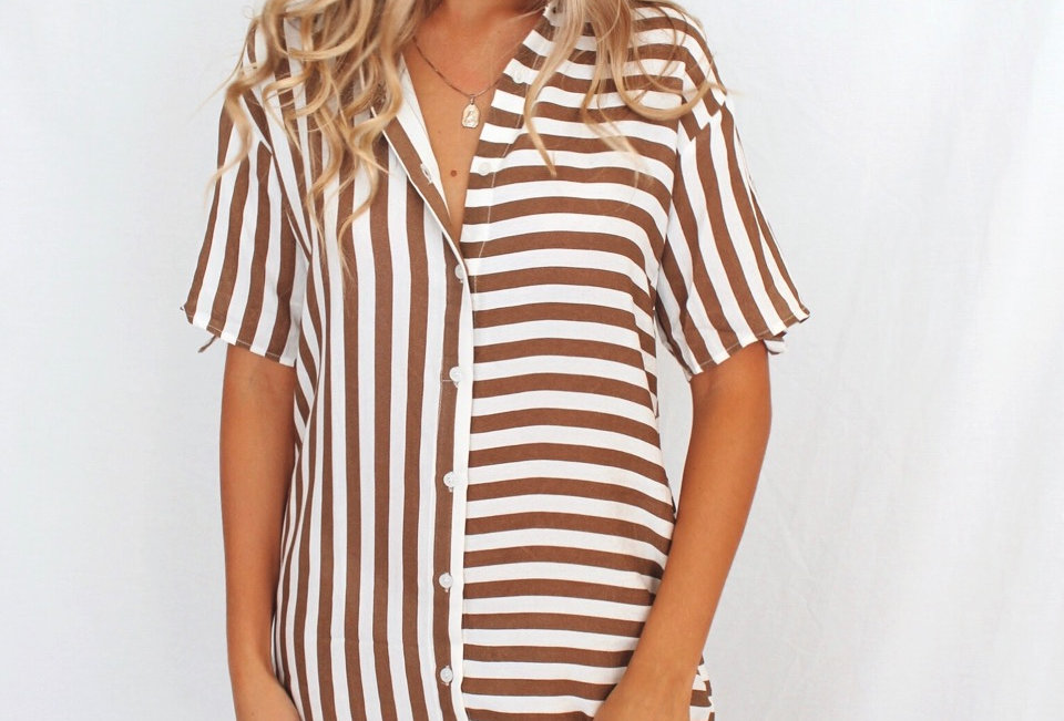Button up white and brown stripe dress easy fit collar