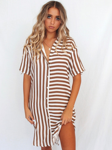 8b7b3a08437 Button up white and brown stripe dress easy fit collar ...