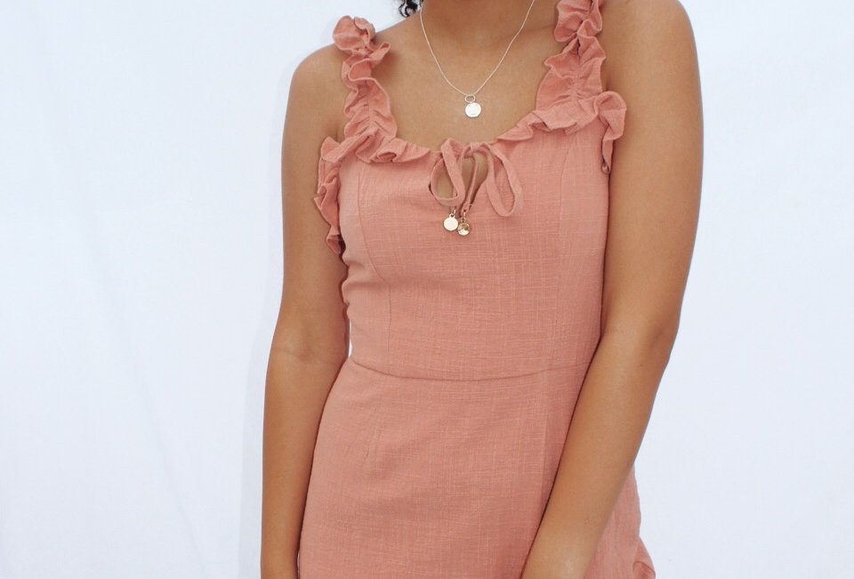 Cute Musk coloured dress, perfect to wear on your next coffee date or to dress up with heals for your next night out