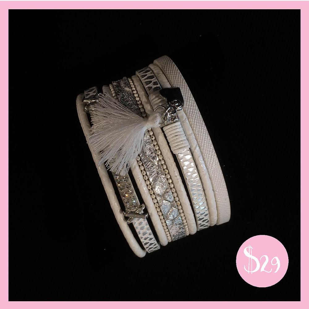 White Leather Beaded and Jeweled Tassle Bracelet from Shine Boutiques Sunshine Coast