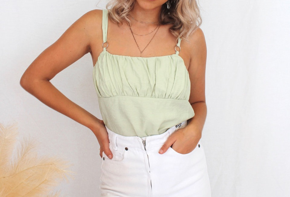 mint singlet crop top  Ajustable straps Crop style Mint colour V342989