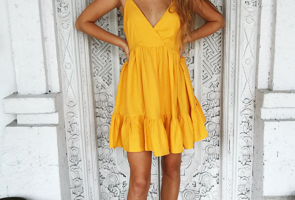 Indikah stunning mango yellow summer dress flowy a-line style low back adjustable tie straps