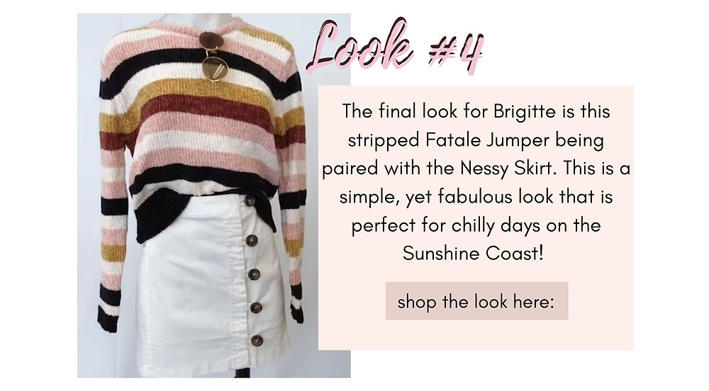 Stripped Fatale Jumper matched with the Nessy Skirt. This is a simple, yet fabulous look that is perfect for chilly days on the Sunshine Coast!