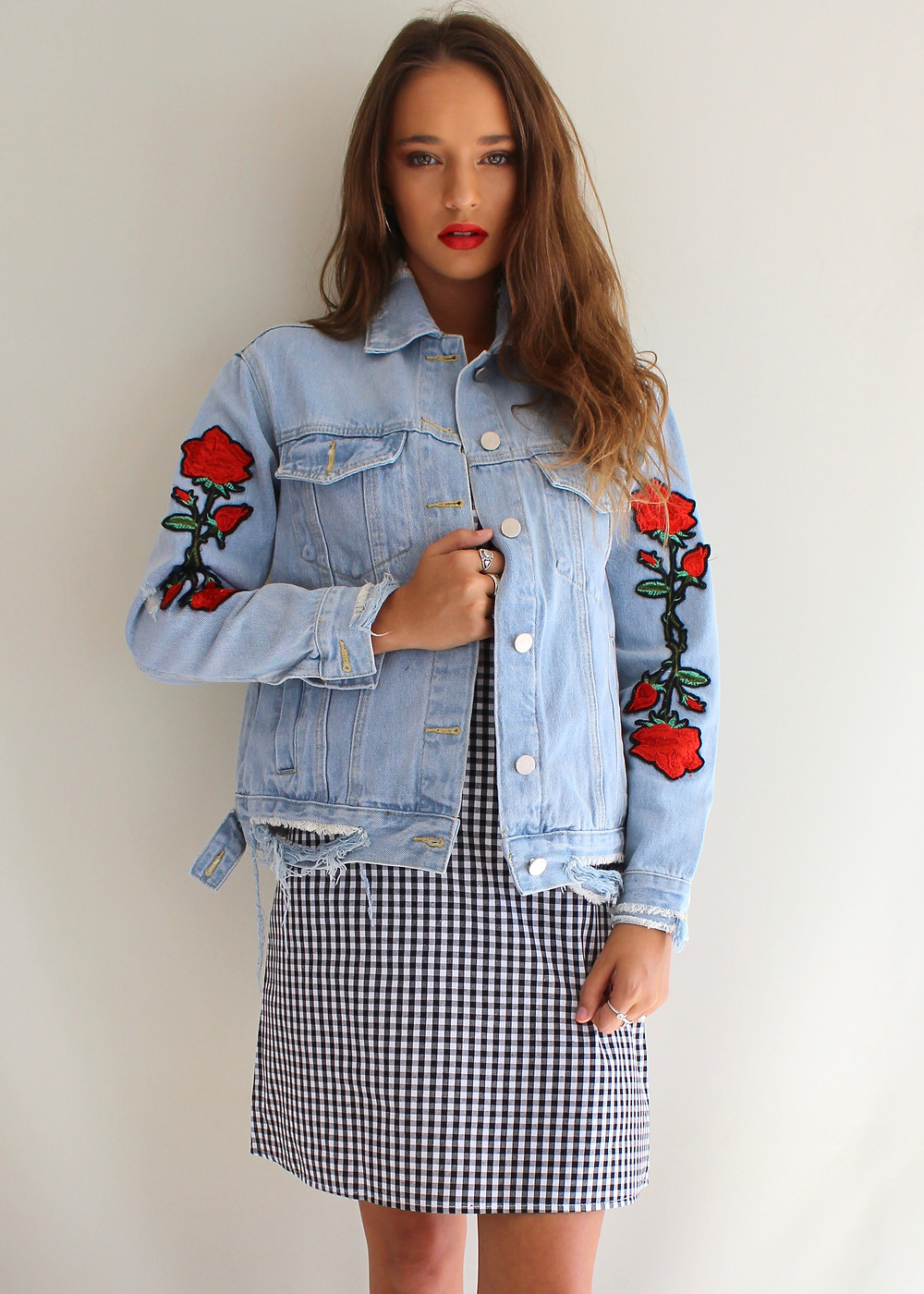 Denim Jacket with Rose Embroidery from Shine Boutiques Sunshine Coast