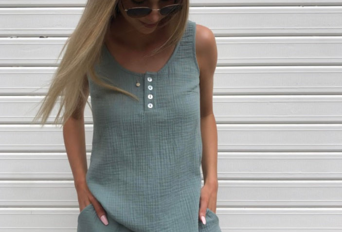 Cute sage colour set  Round neckline with buttons Linen Draw string in shorts 100% Linen Cold Delicate Machine Wash